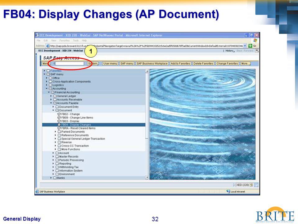 32 General Display FB04: Display Changes (AP Document) 1