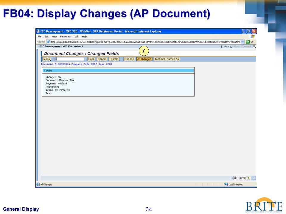 34 General Display FB04: Display Changes (AP Document) 7
