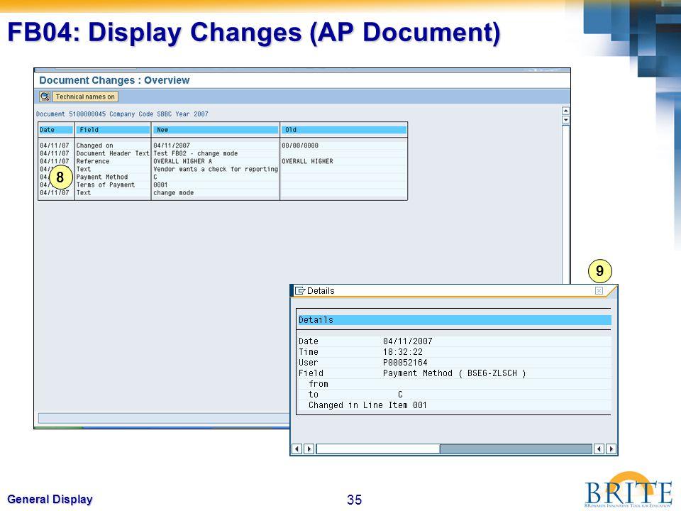 35 General Display FB04: Display Changes (AP Document) 8 9