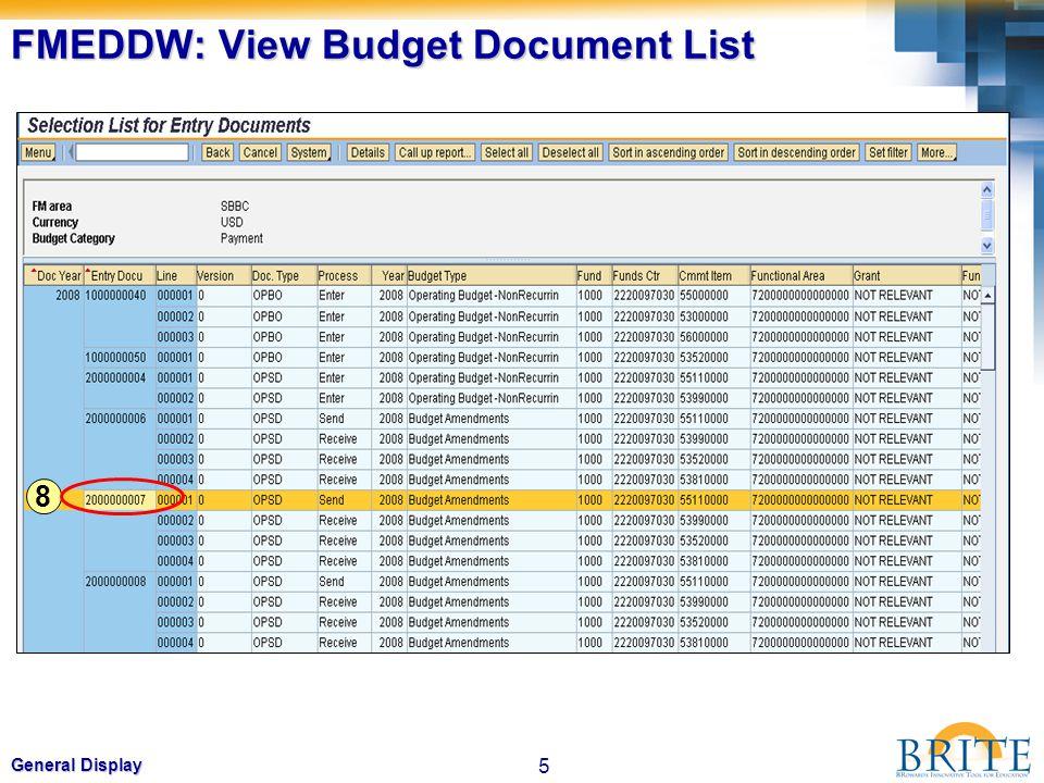5 General Display FMEDDW: View Budget Document List 8