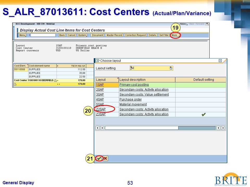 53 General Display S_ALR_87013611: Cost Centers (Actual/Plan/Variance) 19 20 21