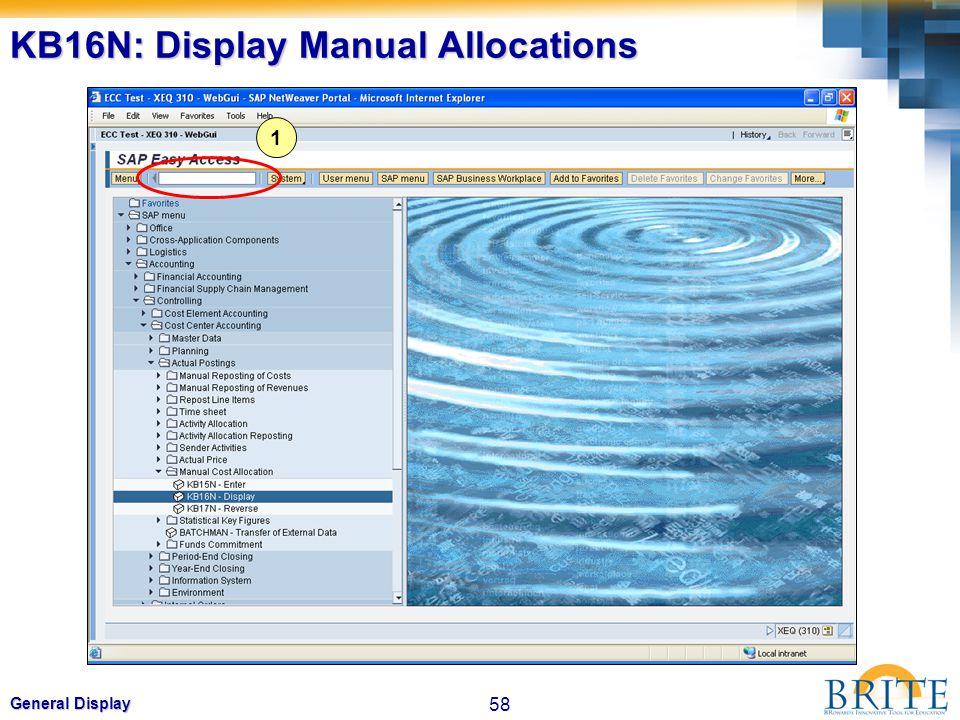 58 General Display KB16N: Display Manual Allocations 1