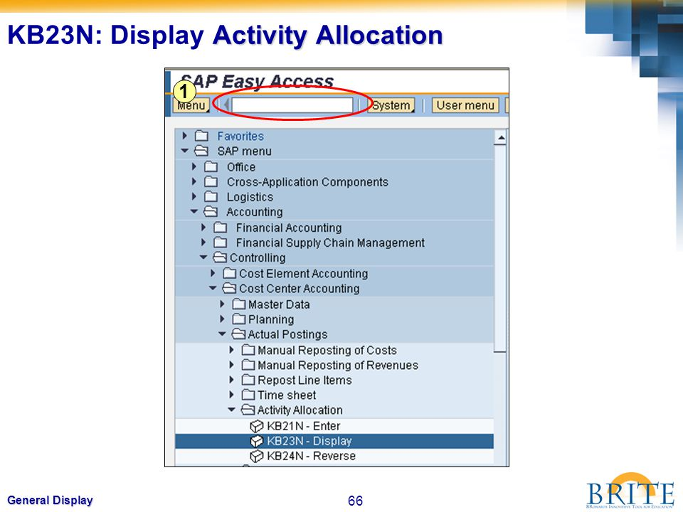 66 General Display 1 Activity Allocation KB23N: Display Activity Allocation