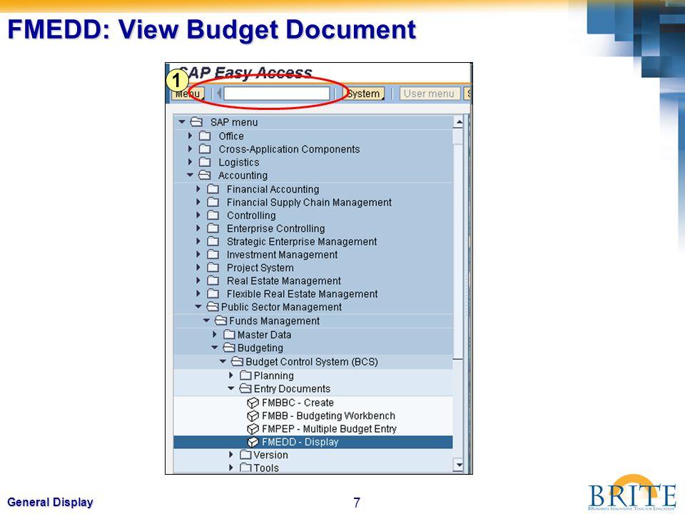 7 General Display FMEDD: View Budget Document 1