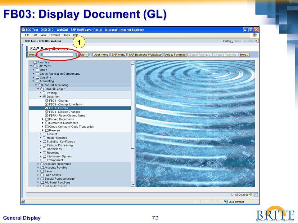 72 General Display FB03: Display Document (GL) 1
