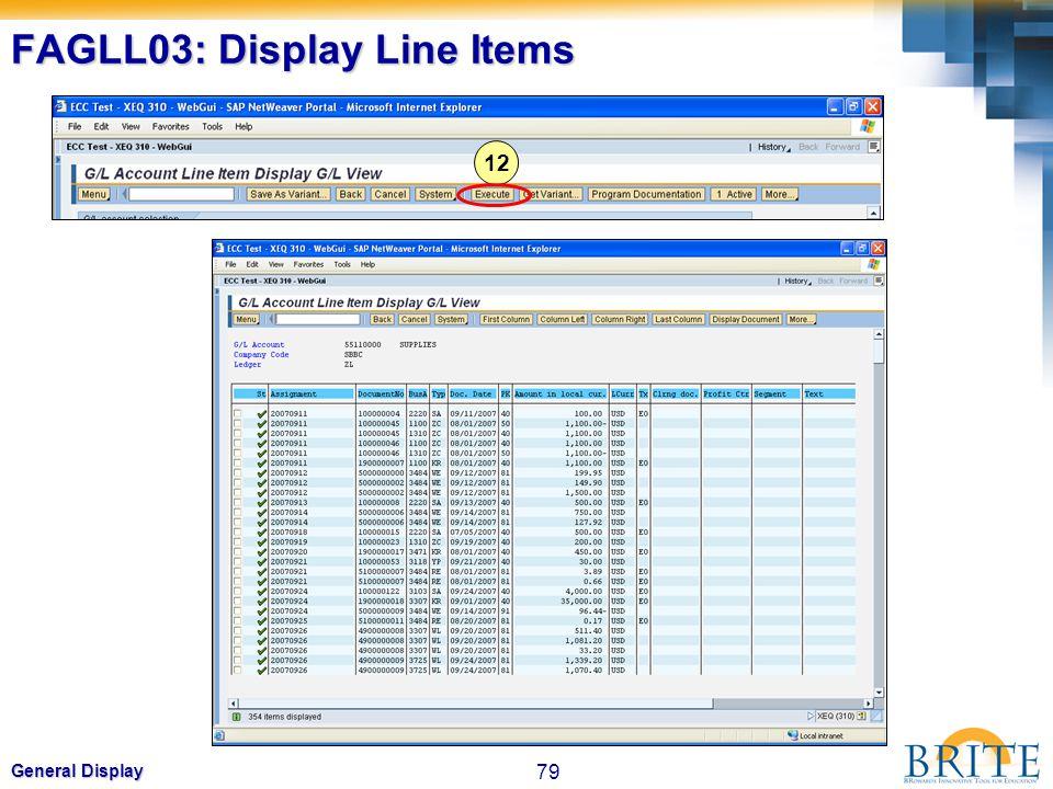 79 General Display FAGLL03: Display Line Items 12