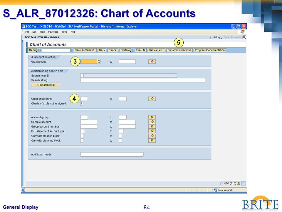 84 General Display S_ALR_87012326: Chart of Accounts 3 4 5