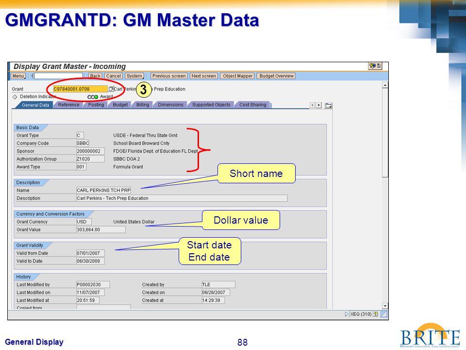 88 General Display GMGRANTD: GM Master Data Short name Start date End date Dollar value 3