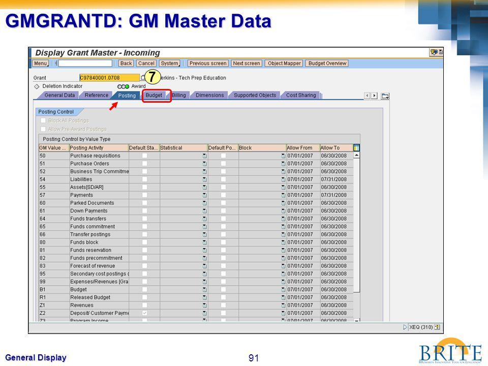 91 General Display GMGRANTD: GM Master Data 7
