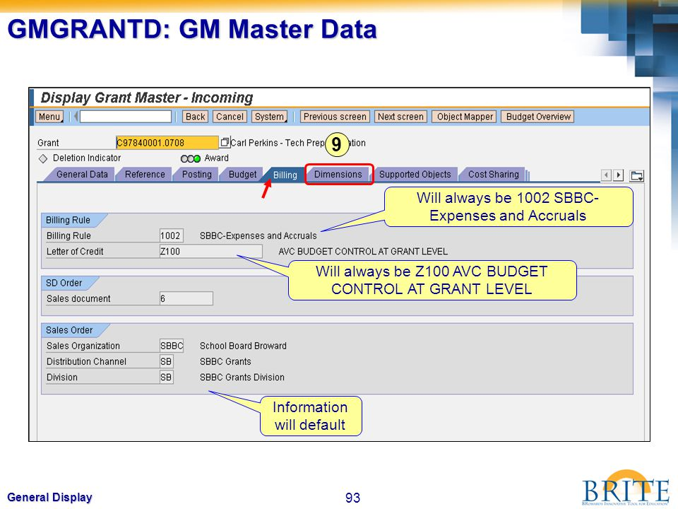 93 General Display GMGRANTD: GM Master Data Will always be 1002 SBBC- Expenses and Accruals Will always be Z100 AVC BUDGET CONTROL AT GRANT LEVEL Info