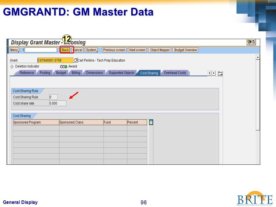 96 General Display GMGRANTD: GM Master Data 12