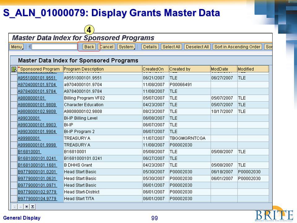 99 General Display S_ALN_01000079: Display Grants Master Data 4