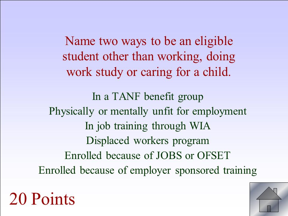 Fable Ineligible students exempt from OFSET are eligible students. True or False Why? 30 Points