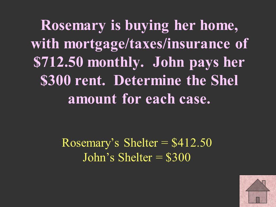 Rosemary's Shelter = $412.50 John's Shelter = $300