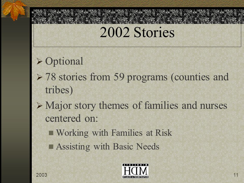 Stories  Optional  78 stories from 59 programs (counties and tribes)  Major story themes of families and nurses centered on: Working with Families at Risk Assisting with Basic Needs
