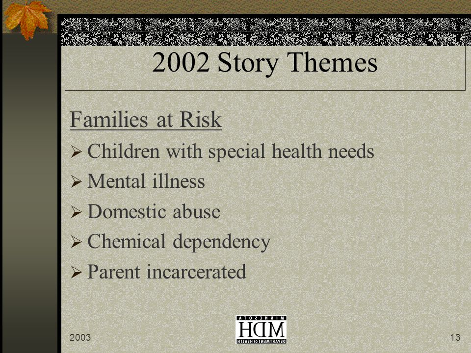 200313 2002 Story Themes Families at Risk  Children with special health needs  Mental illness  Domestic abuse  Chemical dependency  Parent incarcerated