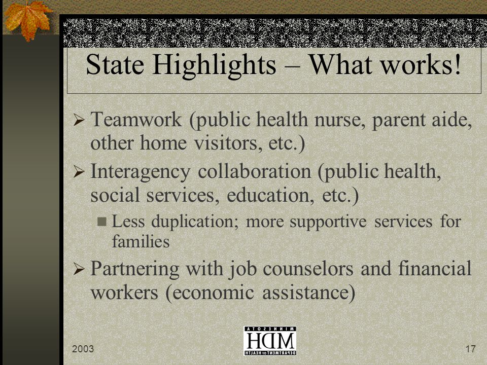 State Highlights – What works.