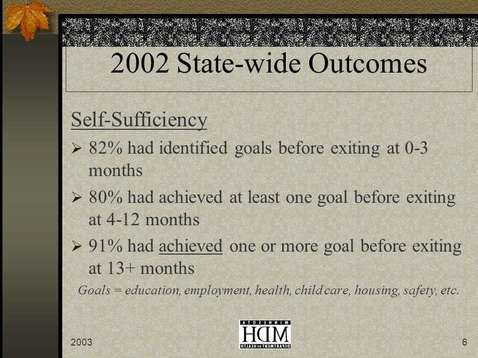 20036 2002 State-wide Outcomes Self-Sufficiency  82% had identified goals before exiting at 0-3 months  80% had achieved at least one goal before exiting at 4-12 months  91% had achieved one or more goal before exiting at 13+ months Goals = education, employment, health, child care, housing, safety, etc.
