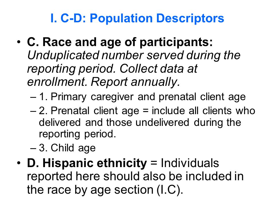 C. Race and age of participants: Unduplicated number served during the reporting period.