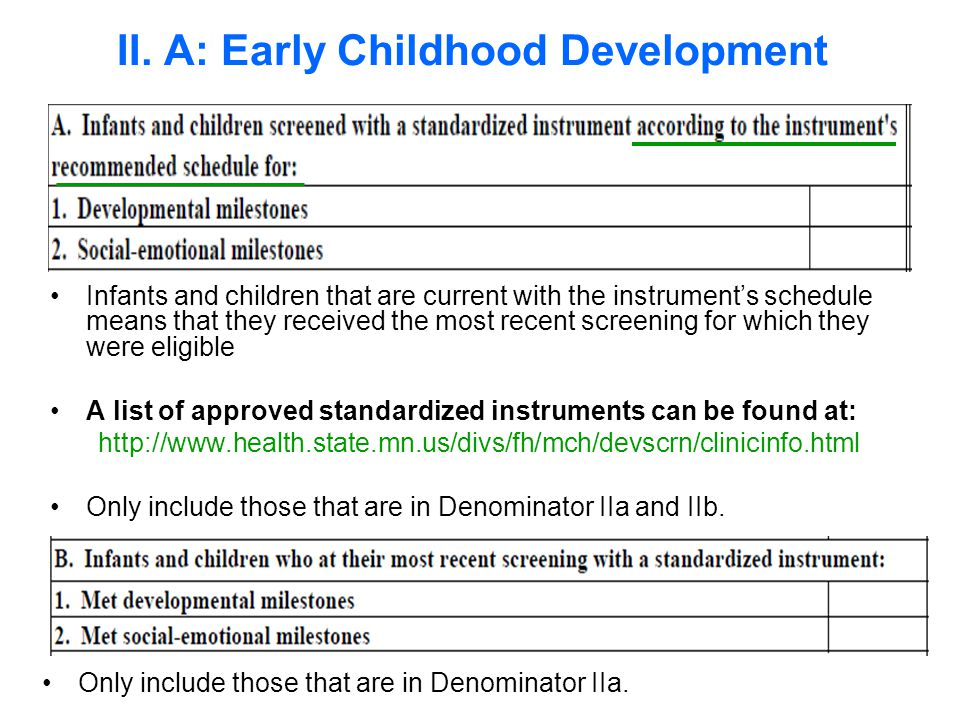 Infants and children that are current with the instrument's schedule means that they received the most recent screening for which they were eligible A list of approved standardized instruments can be found at: http://www.health.state.mn.us/divs/fh/mch/devscrn/clinicinfo.html Only include those that are in Denominator IIa and IIb.