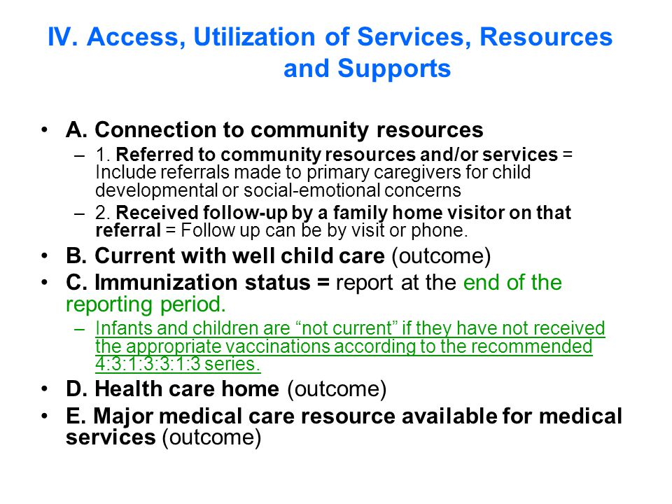 A. Connection to community resources –1.