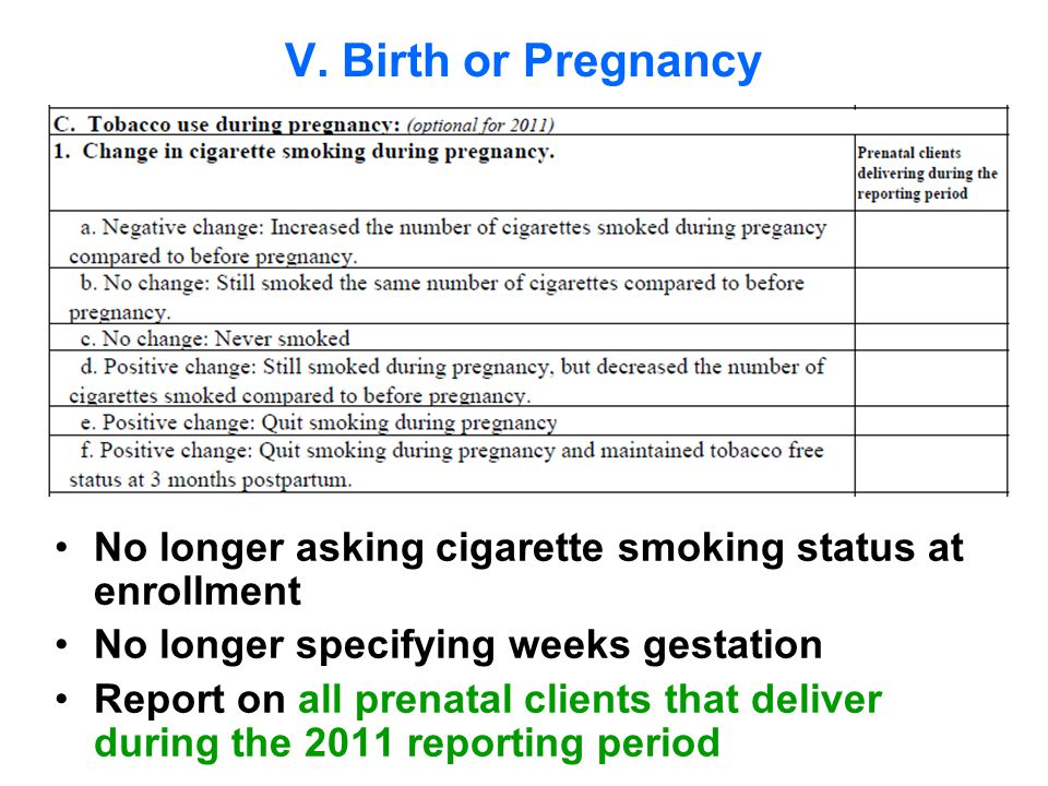 No longer asking cigarette smoking status at enrollment No longer specifying weeks gestation Report on all prenatal clients that deliver during the 2011 reporting period V.