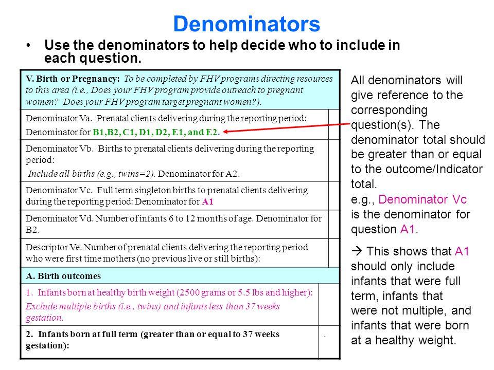 Denominator Va.Prenatal clients delivering during the reporting period Denominator Vb.