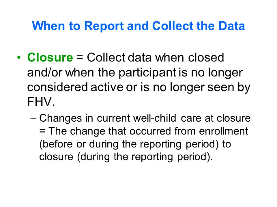 The purpose of this section is to get a snapshot of the population being served by your FHV program.