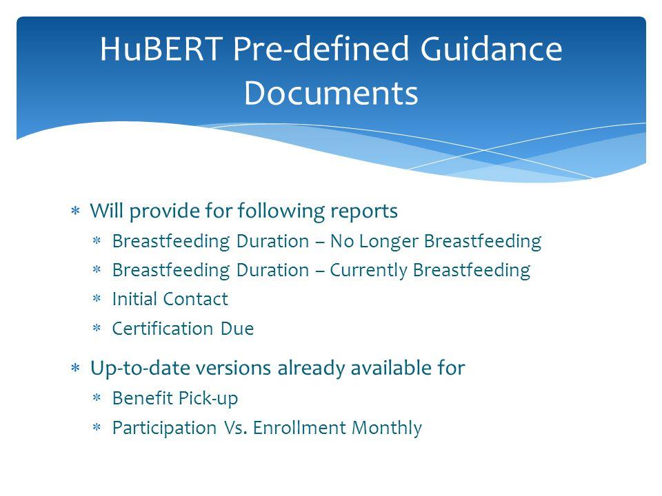 Breastfeeding Duration – No Longer Breastfeeding OPR033 and OPR034