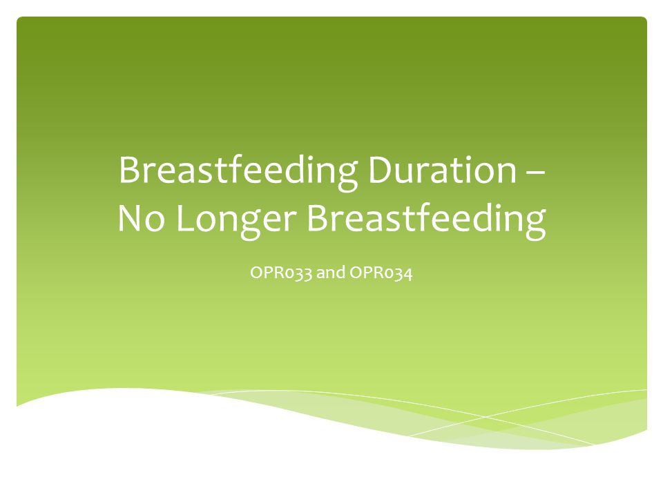  Analysis of children between 14 and 24 months  Whether breastfed (initiation)  How long before stopped breastfeeding (duration)  Duration by race/ethnicity  Designed to be compared to Healthy People Goals Information Provided