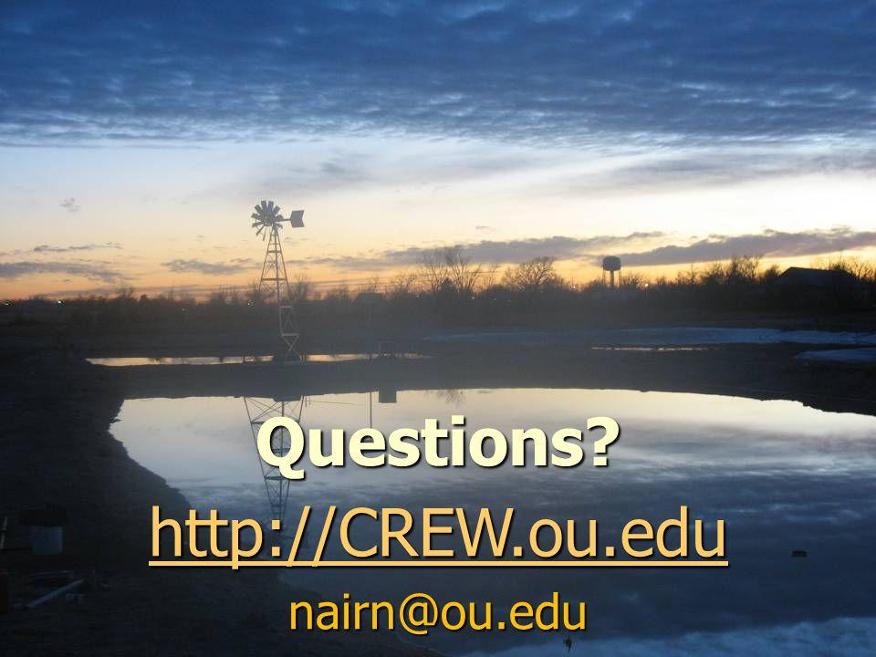 Questions? http://CREW.ou.edu nairn@ou.edu