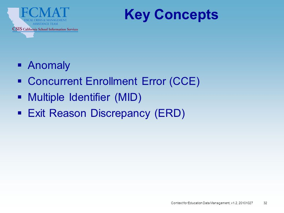Context for Education Data Management, v1.2, 20101027 32 Key Concepts  Anomaly  Concurrent Enrollment Error (CCE)  Multiple Identifier (MID)  Exit Reason Discrepancy (ERD)