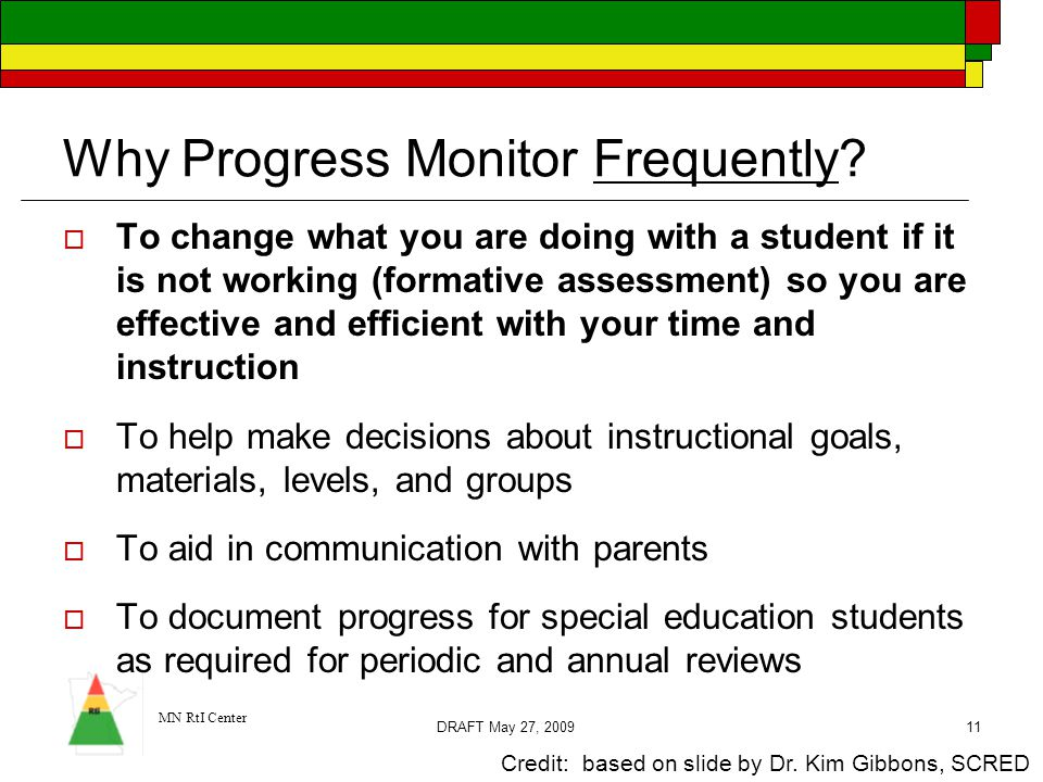 MN RtI Center DRAFT May 27, 200911  To change what you are doing with a student if it is not working (formative assessment) so you are effective and