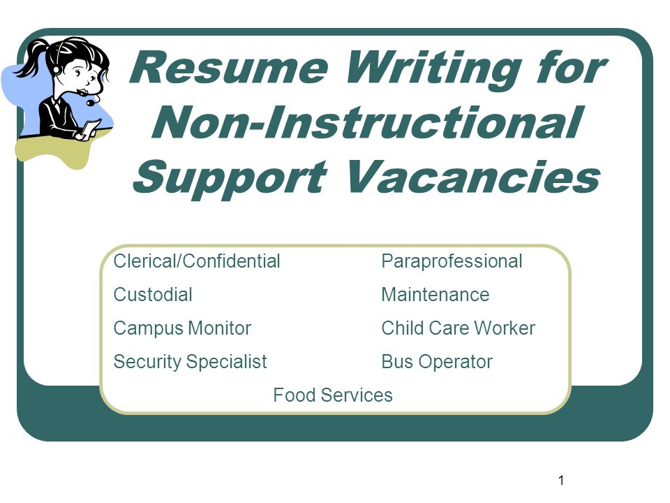 1 Resume Writing for Non-Instructional Support Vacancies Clerical/ConfidentialParaprofessional CustodialMaintenance Campus MonitorChild Care Worker Security SpecialistBus Operator Food Services