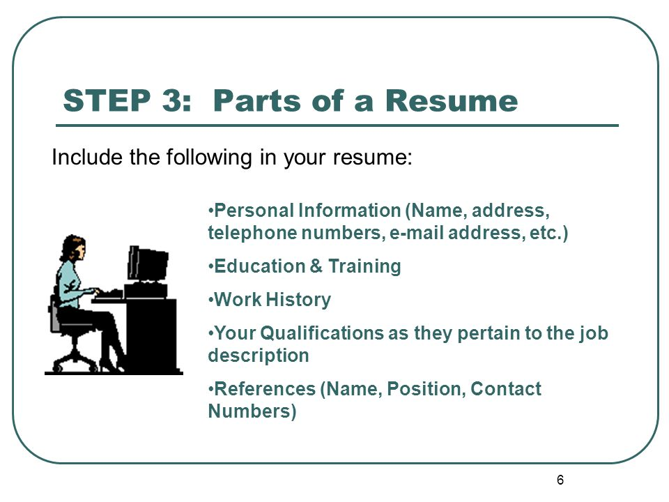 6 STEP 3: Parts of a Resume Personal Information (Name, address, telephone numbers, e-mail address, etc.) Education & Training Work History Your Qualifications as they pertain to the job description References (Name, Position, Contact Numbers) Include the following in your resume: