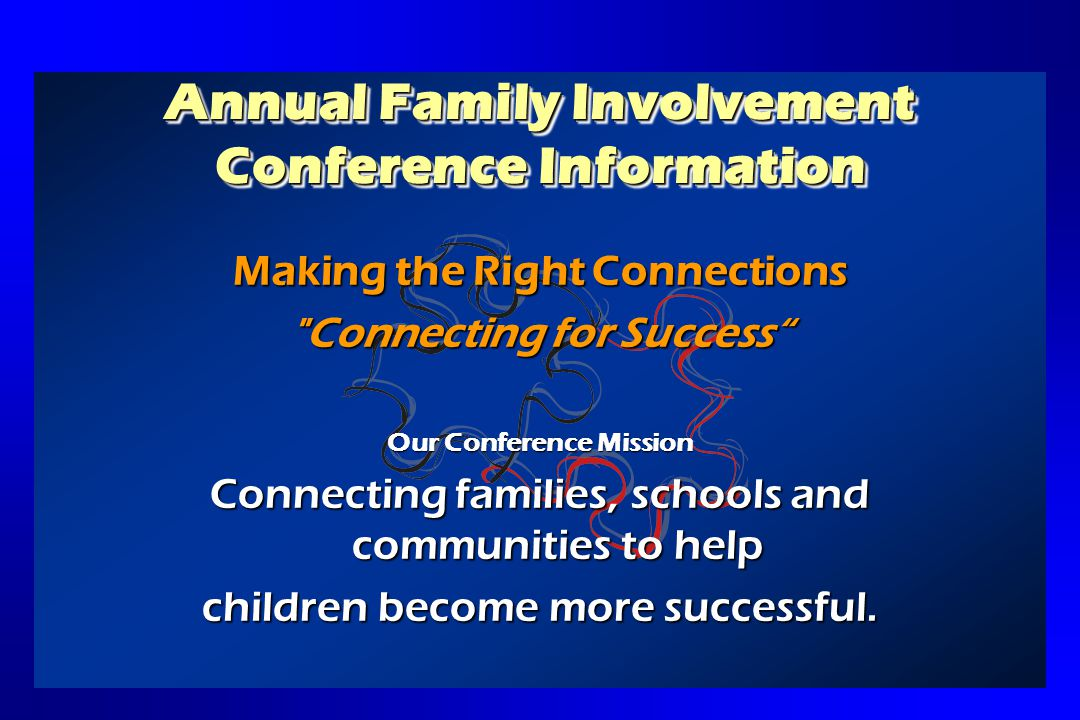 Annual Family Involvement Conference Goals To assist participants in: Understanding Florida statewide testing.Understanding Florida statewide testing.