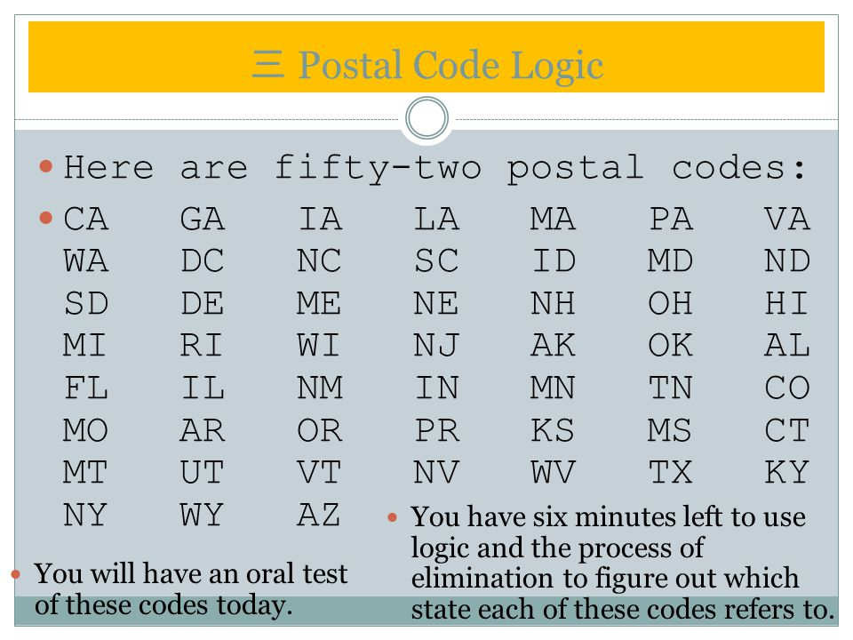 三 Postal Code Logic Here are fifty-two postal codes: CA GA IA LA MA PA VA WA DC NC SC ID MD ND SD DE ME NE NH OH HI MI RI WI NJ AK OK AL FL IL NM IN MN TN CO MO AR OR PR KS MS CT MT UT VT NV WV TX KY NY WY AZ You have six minutes left to use logic and the process of elimination to figure out which state each of these codes refers to.