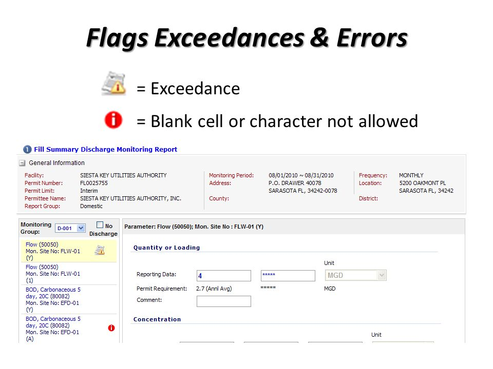 Flags Exceedances & Errors = Exceedance = Blank cell or character not allowed
