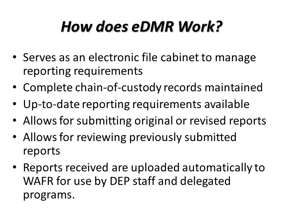 How does eDMR Work.