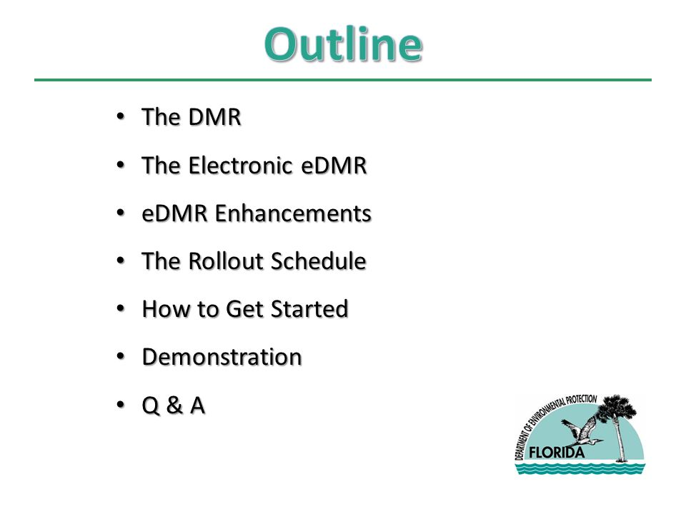 The DMR The DMR The Electronic eDMR The Electronic eDMR eDMR Enhancements eDMR Enhancements The Rollout Schedule The Rollout Schedule How to Get Started How to Get Started Demonstration Demonstration Q & A Q & A