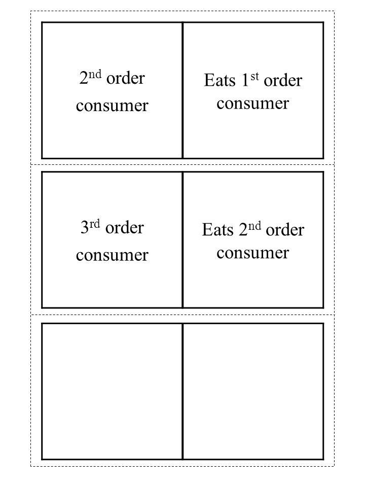 3 rd order consumer Eats 2 nd order consumer 2 nd order consumer Eats 1 st order consumer