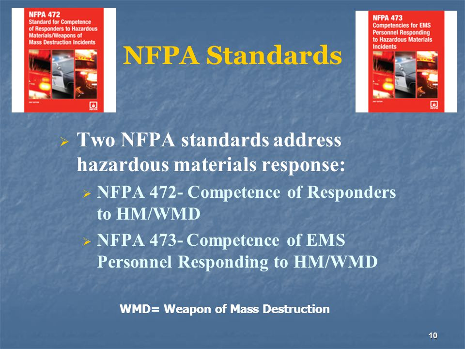 10 NFPA Standards  Two NFPA standards address hazardous materials response:  NFPA 472- Competence of Responders to HM/WMD  NFPA 473- Competence of