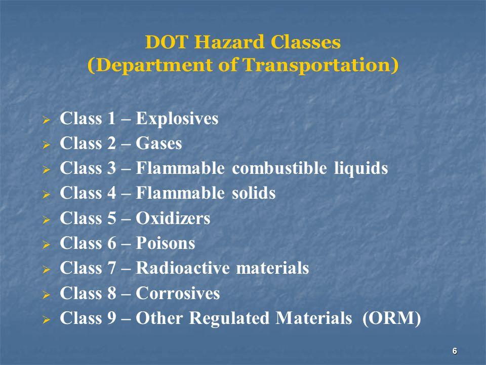 6 DOT Hazard Classes (Department of Transportation)  Class 1 – Explosives  Class 2 – Gases  Class 3 – Flammable combustible liquids  Class 4 – Fla