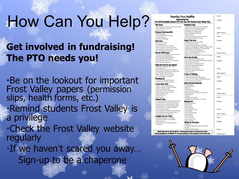 How Can You Help.Get involved in fundraising. The PTO needs you.
