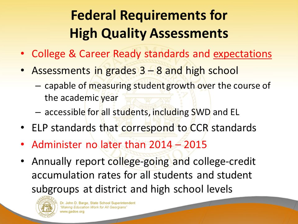 CRCT Readiness Indicators: Reading, ELA, Mathematics Indicators were designed to send a signal to stakeholders about where students are relative to where they need to be headed Indicators provide feedback about our preparedness for the increase in rigor and expectation for student achievement that is on the horizon Feedback consists of the percent of students who achieved each readiness level – state, district, and school levels – for instructional planning purposes While we cannot guarantee that students who achieve the On-Track level will be proficient on the new assessment, we do know they will be better prepared and positioned to be successful.