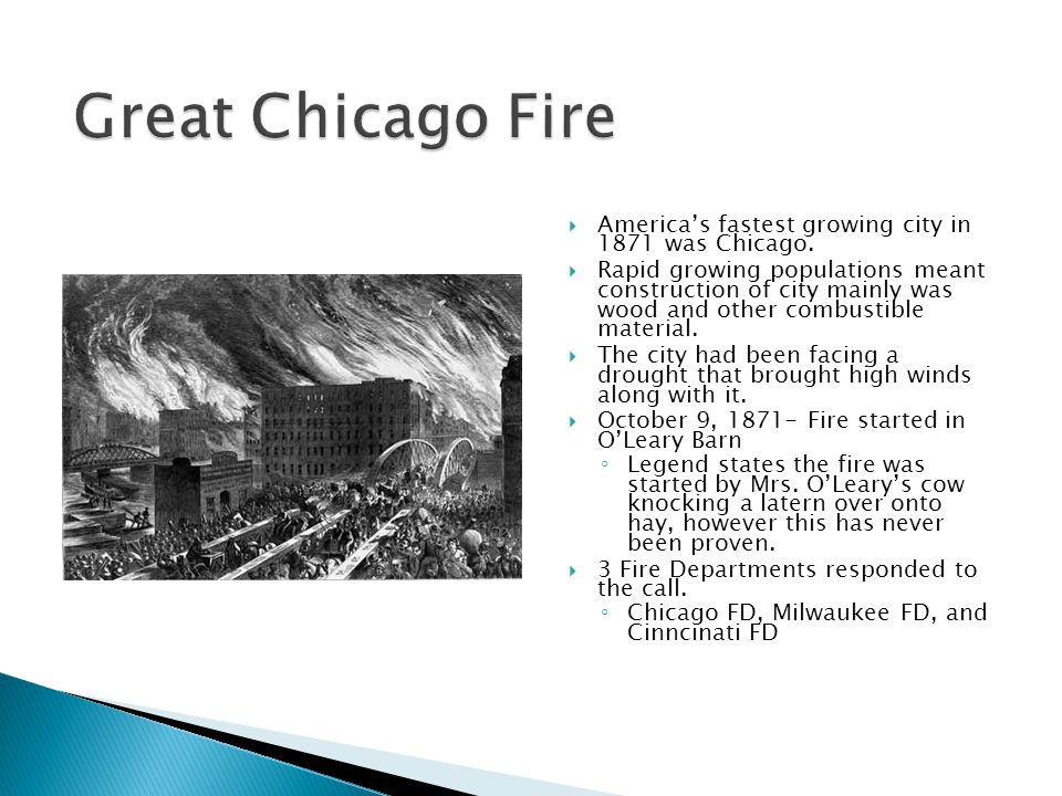  America's fastest growing city in 1871 was Chicago.