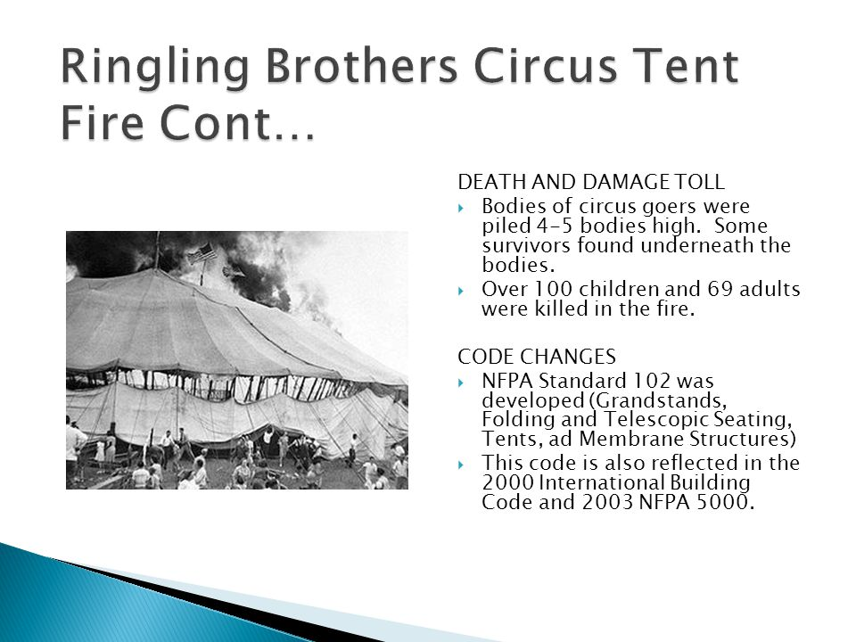 DEATH AND DAMAGE TOLL  Bodies of circus goers were piled 4-5 bodies high.