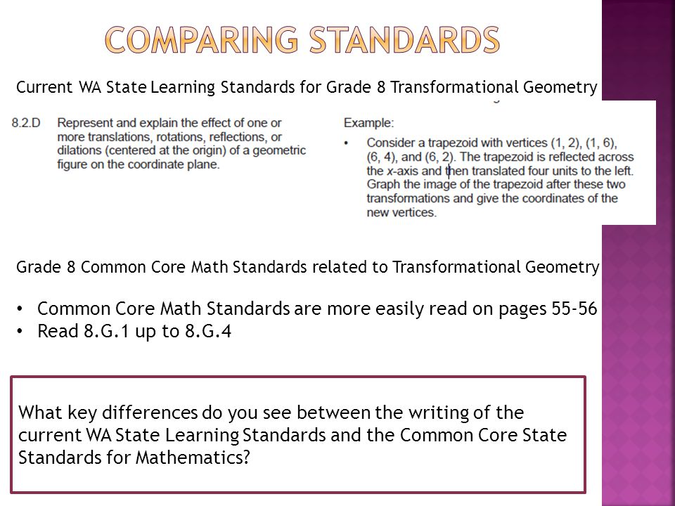Current WA State Learning Standards for Grade 8 Transformational Geometry What key differences do you see between the writing of the current WA State Learning Standards and the Common Core State Standards for Mathematics.