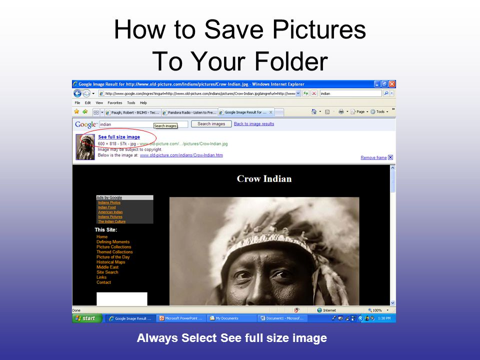 How to Save Pictures To Your Folder Always Select See full size image