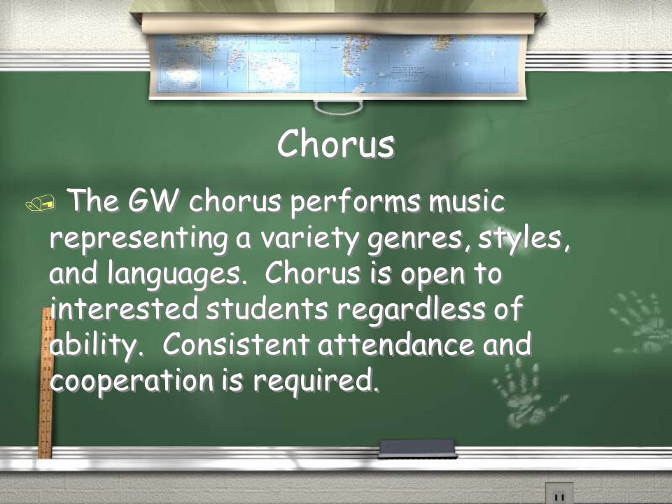Chorus / The GW chorus performs music representing a variety genres, styles, and languages.
